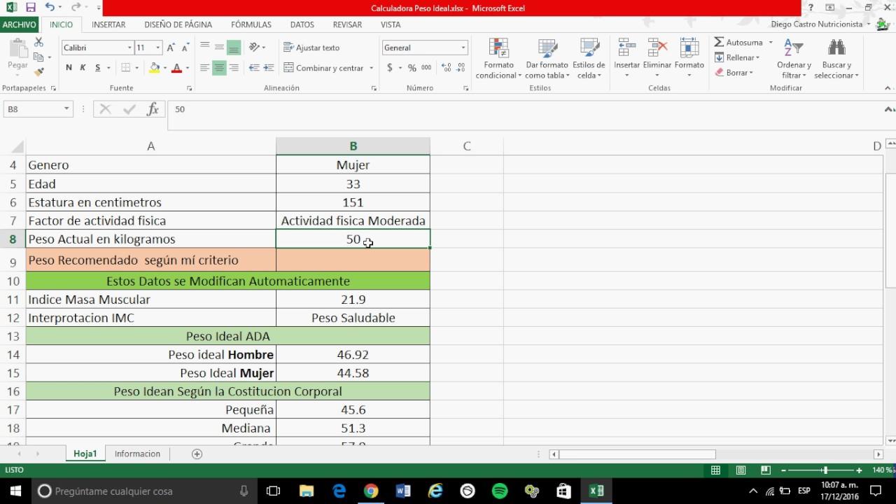 como calcular el peso ideal programas de nutricion peso idean - YouTube