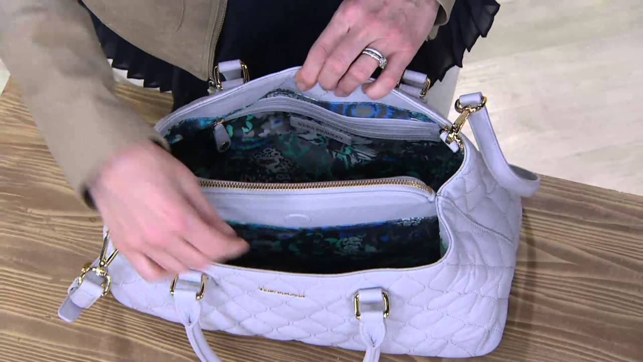 Vera Bradley Quilted Leather Satchel Emma On Qvc Youtube