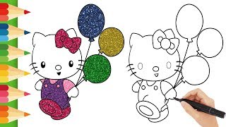 How to Draw Hello Kitty | Hello Kitty Glitter Colors | Easy Draw | Easy Color | Learn Drawing