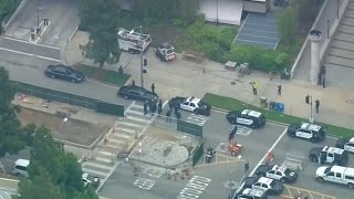 UCLA campus on lockdown after shooting (Aerial footage)