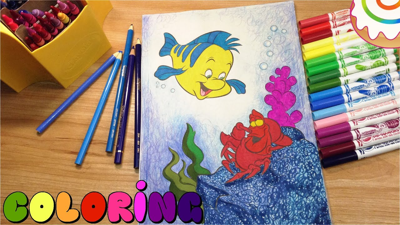 disney u0027s the little mermaid coloring page flounder and sebastian