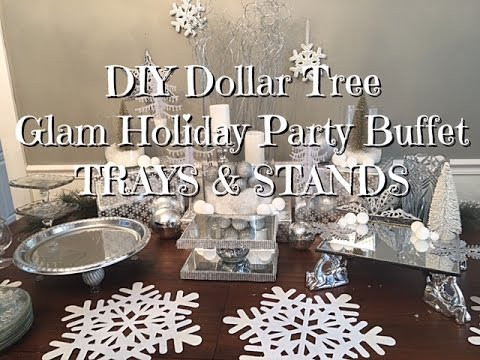 Diy Dollar Tree Glam New Years Buffet Trays Amp Stands Youtube