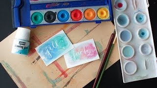 Masking Fluid Tutorial with Calligraphy and Watercolor