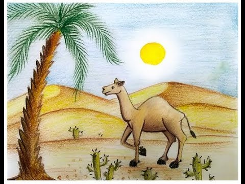 How To Draw Scenery Of Desert With Camel Youtube