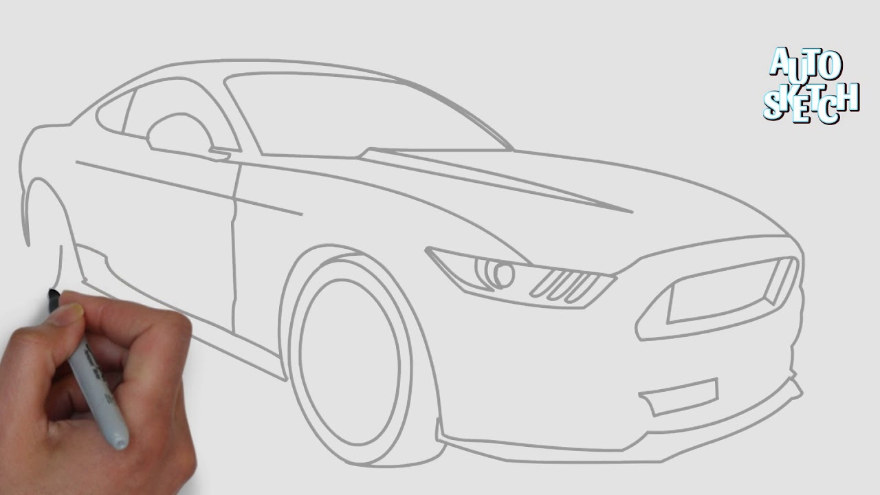 How To Draw A Ford Mustang Gt Youtube