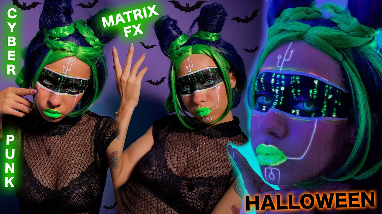 Fluorescent MATRIX FX HALLOWEEN Makeup Tutorial & CYBERPUNK Costume 2021
