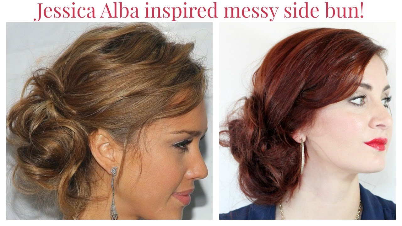 Jessica Alba Updo Hairstyles Jessica Alba Messy Side Bun Youtube