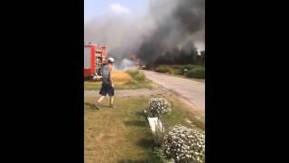 Pożar ciągnika i przyczep. Babin k. Lublina