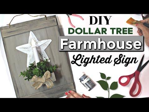 DIY Lighted Farmhouse Sign | DIY Dollar Tree Farmhouse Decor | Krafts by Katelyn