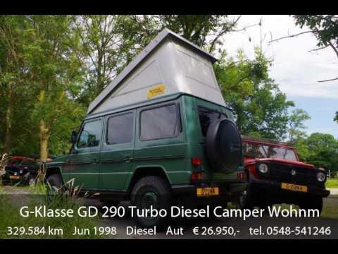 mercedes benz g klasse gd 290 turbo diesel camper wohnmobil klima youtube. Black Bedroom Furniture Sets. Home Design Ideas