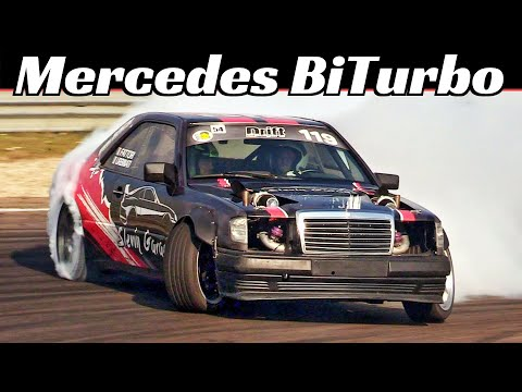 This Old Mercedes Drift Car Makes a Wonderful Twin-Turbo V-8 Sound