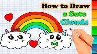 How to Draw a Rainbow Clouds Easy & Coloring for Kids