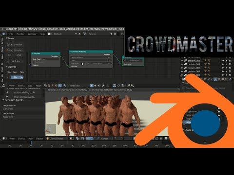 01.Introduction to CrowdMaster 1.3.2 in Blender 2.79 English version - Part1