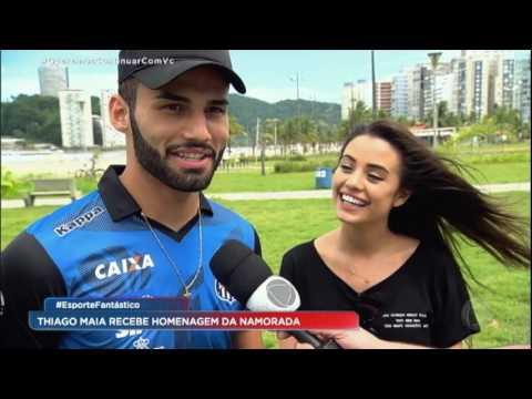 Thiago Maia, do Santos, recebeu uma música exclusiva da namorada Isadora Pompeu