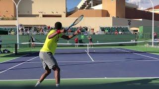 Gael Monfils & Karolina Pliskova - ATP/WTA Crossover Practice Session (Court Level, 4k 60 fps)
