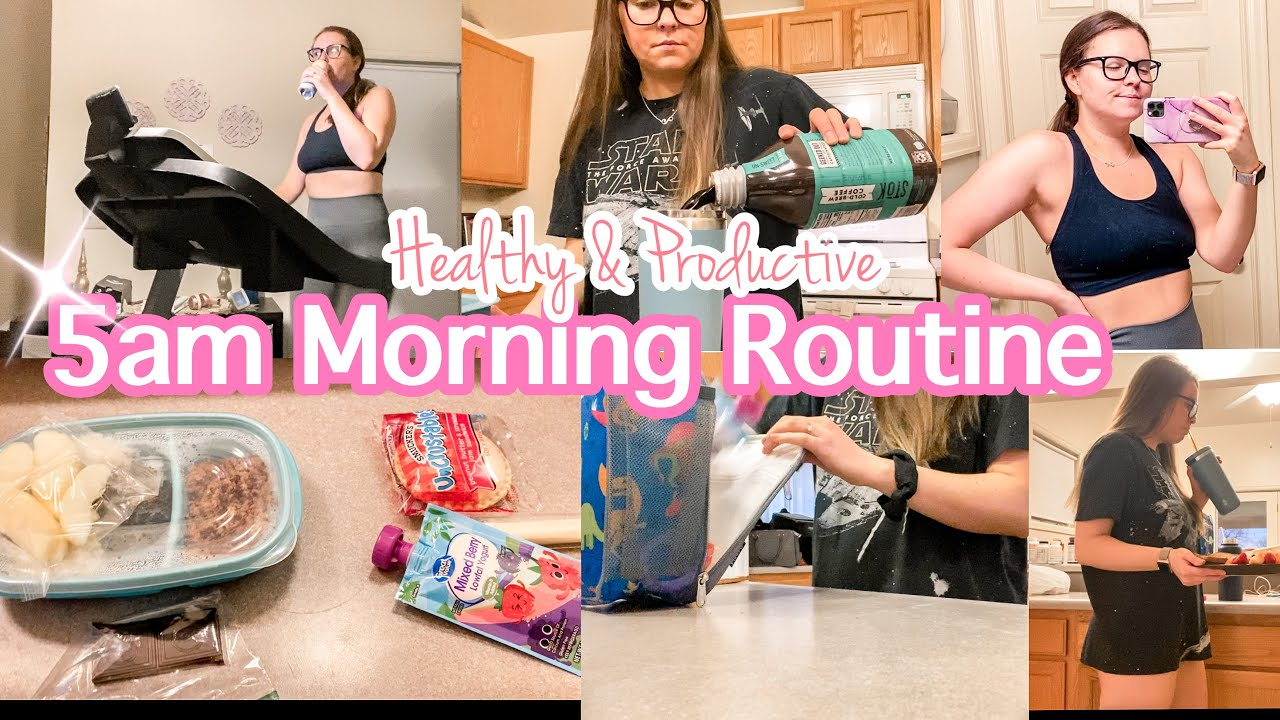*NEW* 5AM WORKING MOM MORNING ROUTINE 2021 // healthy, productive, home workout