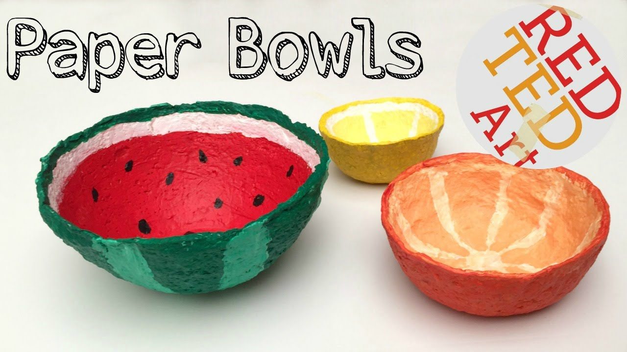How To Make A Bowl From Shredded Paper Diy Watermelon Craft Youtube