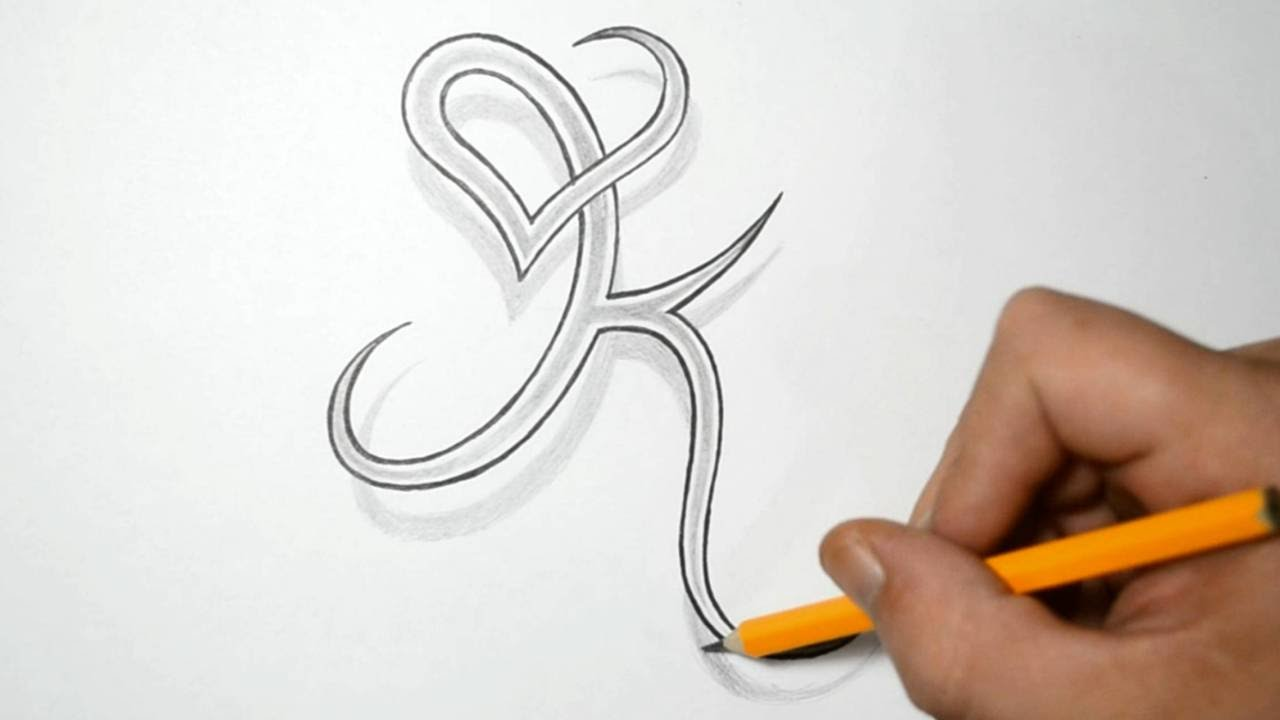 Letter K and Heart Combined - Tattoo Design Ideas for Initials - YouTube