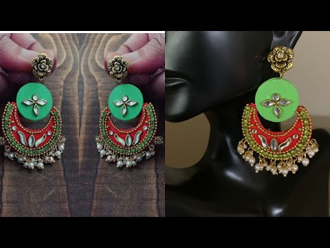 Paper chandbali earrings /handmade paper base designer earrings/how to make chandbali earrings
