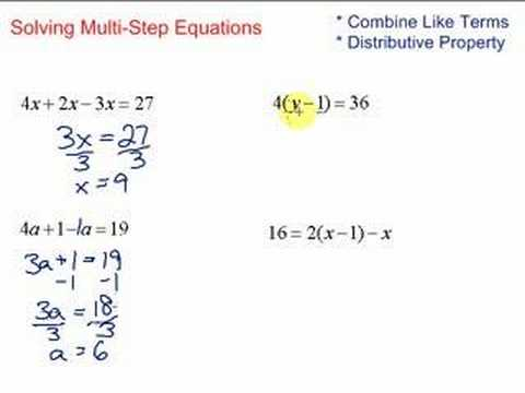 Lesson 7 2 Solving Multi Step Equations Youtube 2 Step Equations 3 Step Equations Worksheet #20