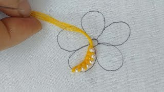 Making flower with pearl embroidery designs step by step