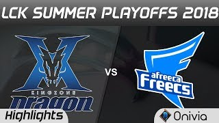 KZ vs AFS Highlights Game 2 LCK Summer Playoffs 2018 KingZone DragonX vs Afreeca Freecs by Onivia