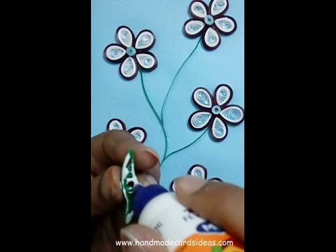how to  make quilling flowers card: easy method