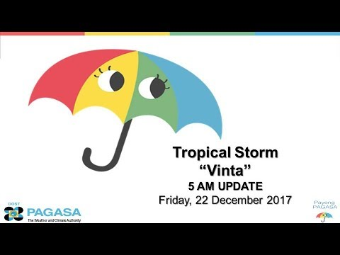 "Press Briefing: Tropical Storm ""#VintaPH"" Friday 5 AM, December 22, 2017"