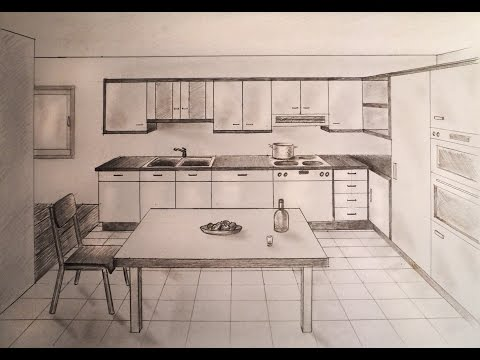 How to draw - one point perspective kitchen with furniture, desk