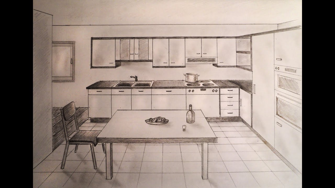 How to draw one point perspective kitchen with furniture for 1 room kitchen interior design