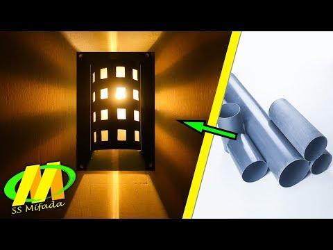 Cara mudah membuat lampu hias dinding dari pipa paralon || ss mifada