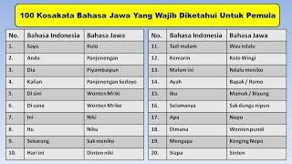 Download Lagu 100 KOSAKATA BAHASA JAWA YANG WAJIB DIKETAHUI OLEH PARA PEMULA mp3