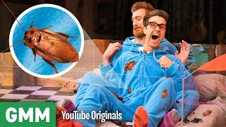 We're putting our newfound cuddling skills to the test to see if we can keep our heart rates down while getting tucked in bed with cockroaches. GMM #1217 ...