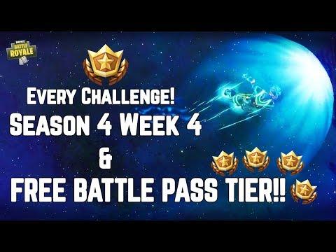 FREE Battle Pass Tier Location & ALL Season 4 Week 4 Challenges! Fortnite Battle Royale