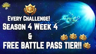FREE Battle Pass Tier Location & ALL Season 4 Week 4 Challenges! Fortnite Battle Royale