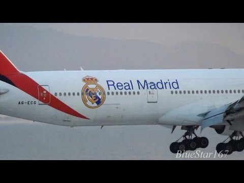 [Real Madrid] Emirates Airlines Boeing 777-300ER (A6-ECG) landing at KIX/RJBB (Osaka Kansai) RWY 24L