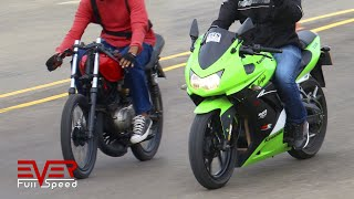 Yamaha RX | Ninja 250. Finales 16 seg. 1 válida motos piques 1/4 de milla. drag races