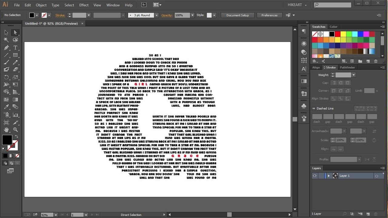 How To Fill A Character With Text In Adobe Illustrator Youtube