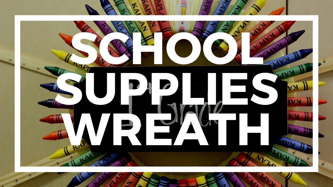 school supplies wreath