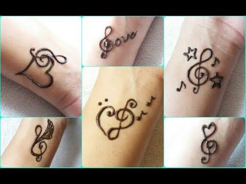 6 DIY tattoo mehndi design for music lover - part 1