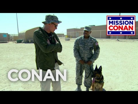 Conan Trains With The Military Working Dog Unit in Qatar