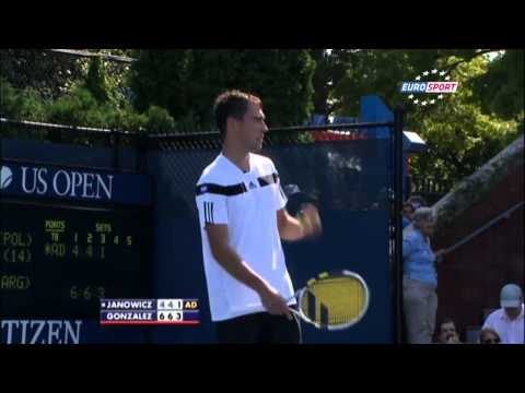 Jerzy Janowicz serves underhand and argues with umpire - US Open R1