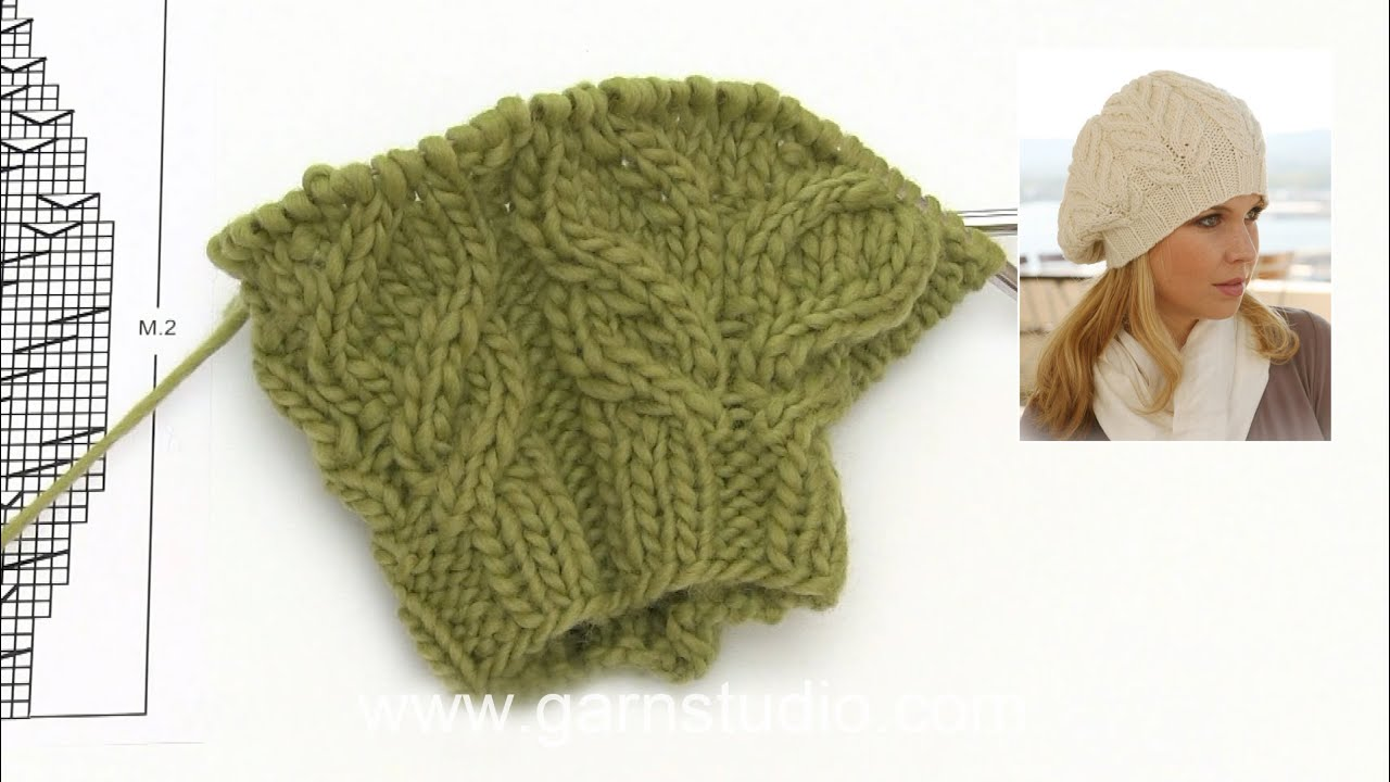 How to knit the basque hat with cables in DROPS 123-20 - YouTube 3147325b196