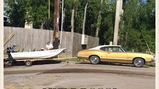 Coolest Guy Launching a Boat in a 1971 Oldsmobile Cutlass.  Like a Boss!