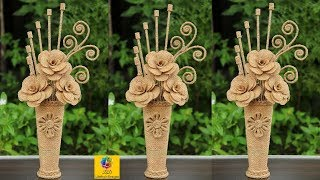How to Make Jute Flower with Vase | Jute Art and Craft | Jute Craft Decoration Design
