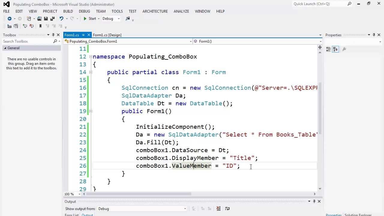 96. برمجة قواعد البيانات - تعبئة الكومبوبوكس Populating ComboBox