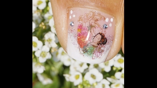 Toes Art Design French Pedicure Glitter and Chinise Sticker Design Spring  Tutorial Beginners