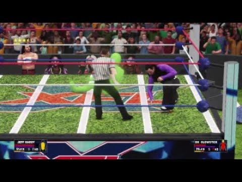 WWE 2K18 XFL ARENA Jeff Hardy vs Glowstick Gameplay