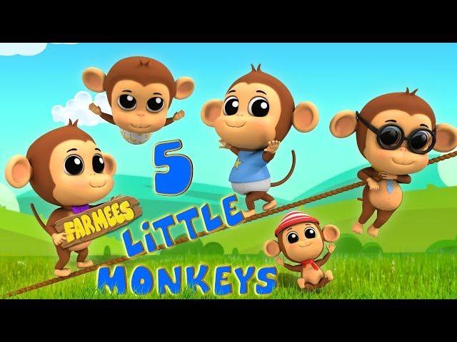 Five Little Monkeys | Kindergarten Nursery Rhymes For Kids