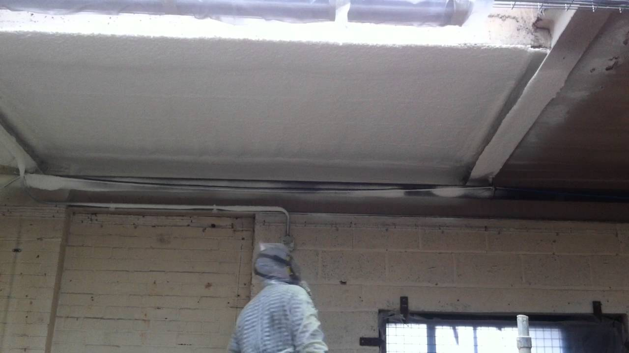 Applying Spray Foam Insulation To Concrete Soffit Youtube